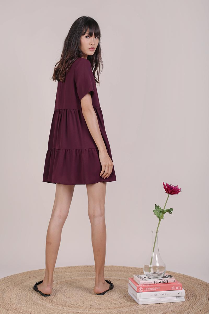 Bella Babydoll Dress (Plum)