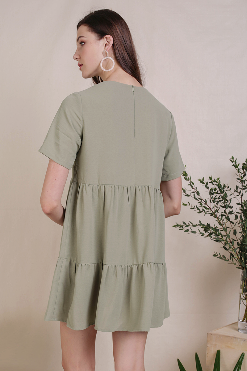 Bella Babydoll Dress (Sage Green)
