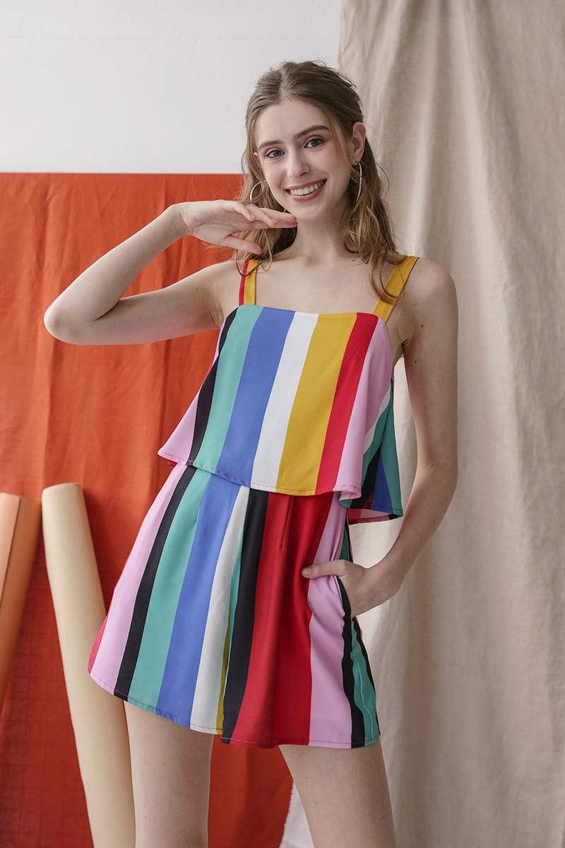 Nixon Flare Romper (Rainbow)