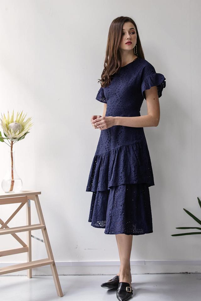 Della Sleeved Dress (Navy Eyelet)