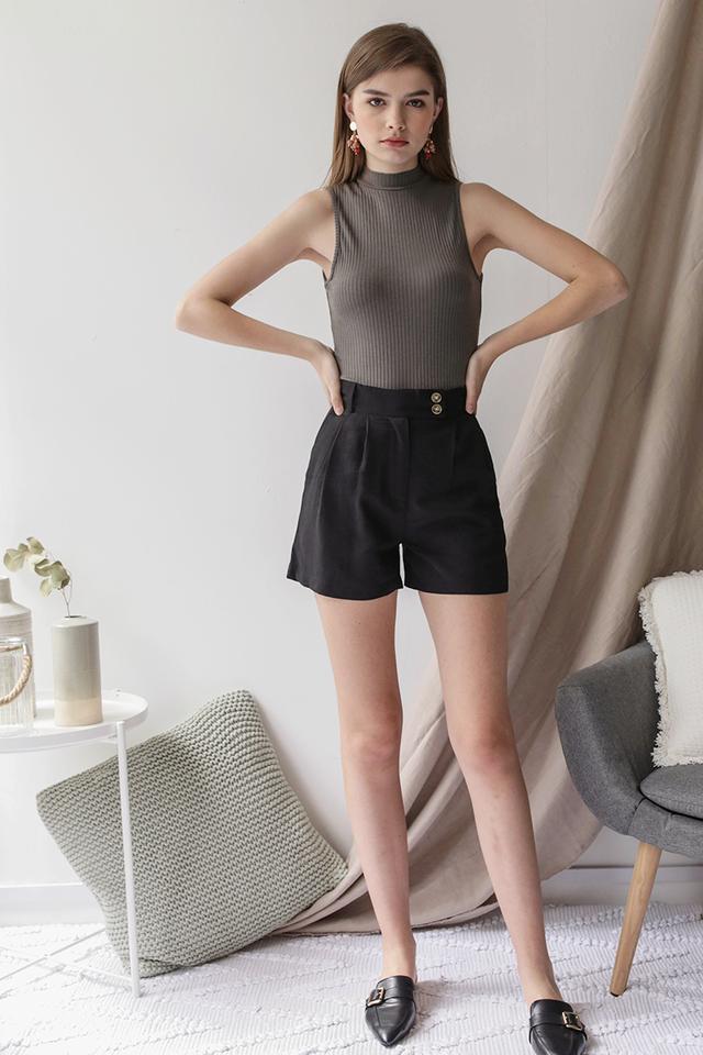 Oda Button Shorts (Black)