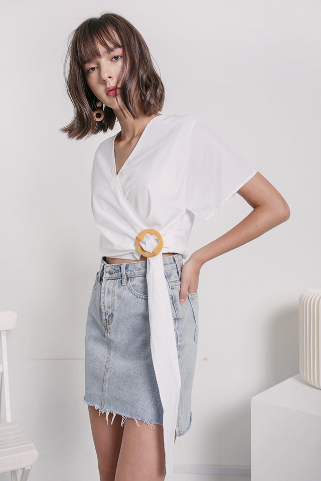 Amara Wrap Buckle Top (White)