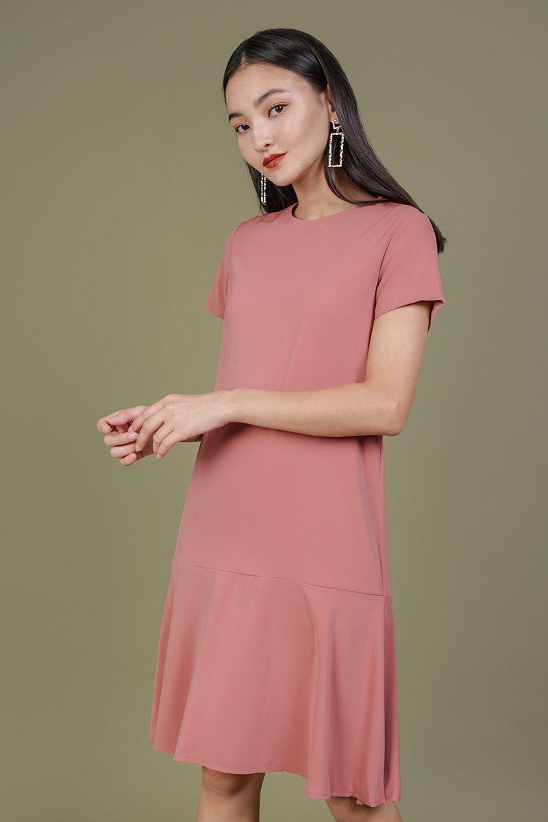 Livia Sleeved Midi Dress (Rosewood)