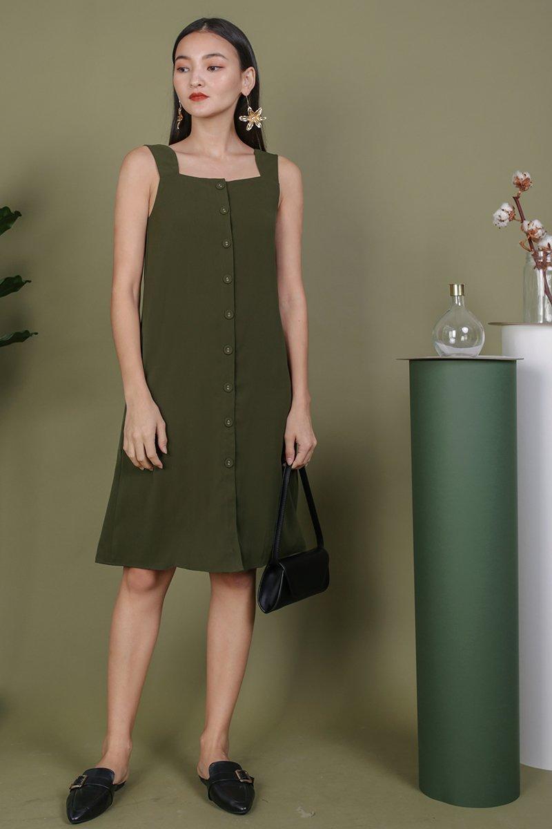 Miranda Button V Back Dress (Olive)