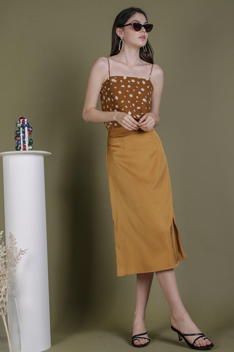 Issa Satin Skirt (Gold)