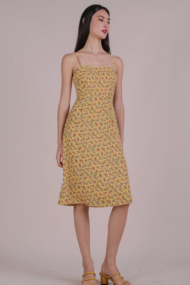 Juna Strappy Dress (Yellow Blooms)