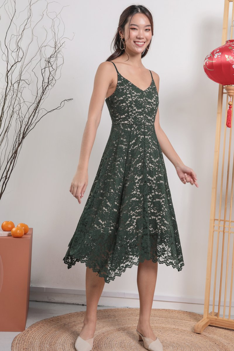 Halley Lace Dress (Forest Green)