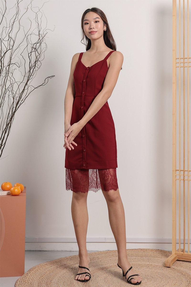 Nikola Lace Hem Dress (Maroon)