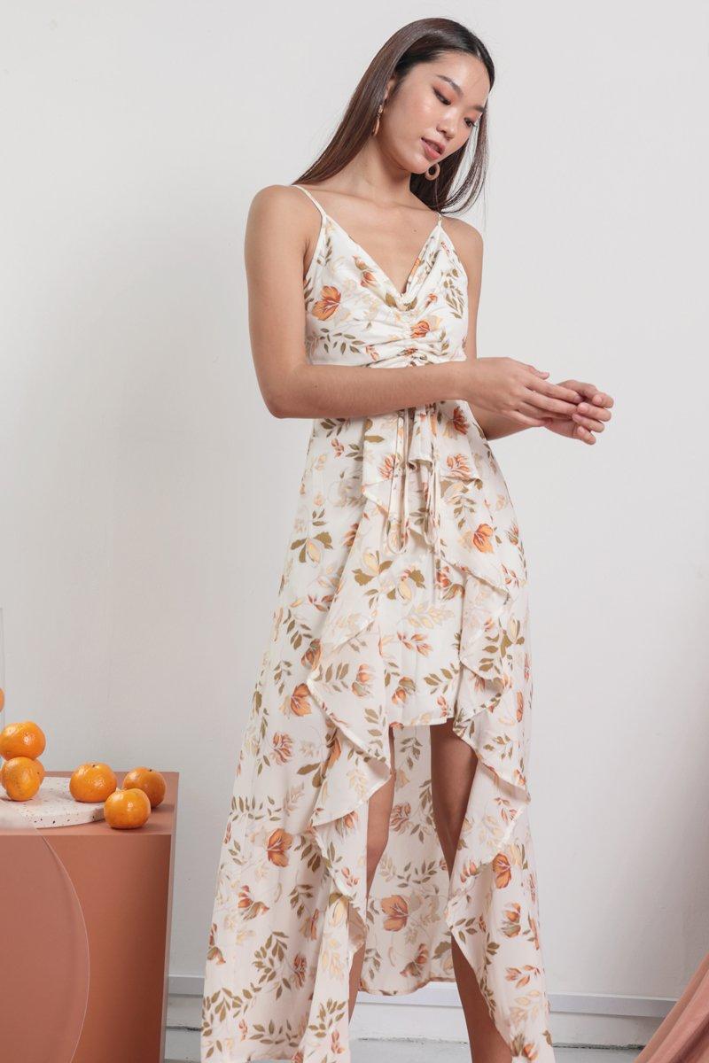 Fionn Ruffles Drawstring Dress (White Florals)