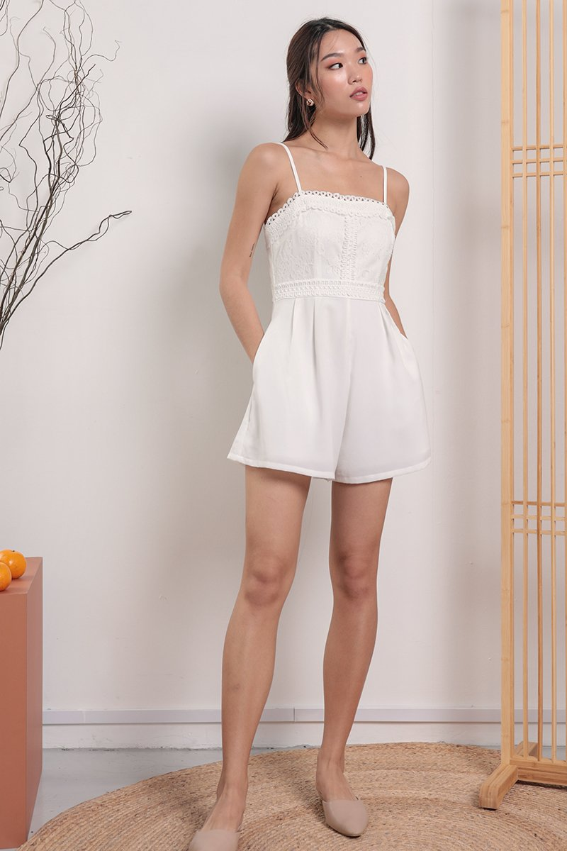 Marisa Crochet Romper (White)