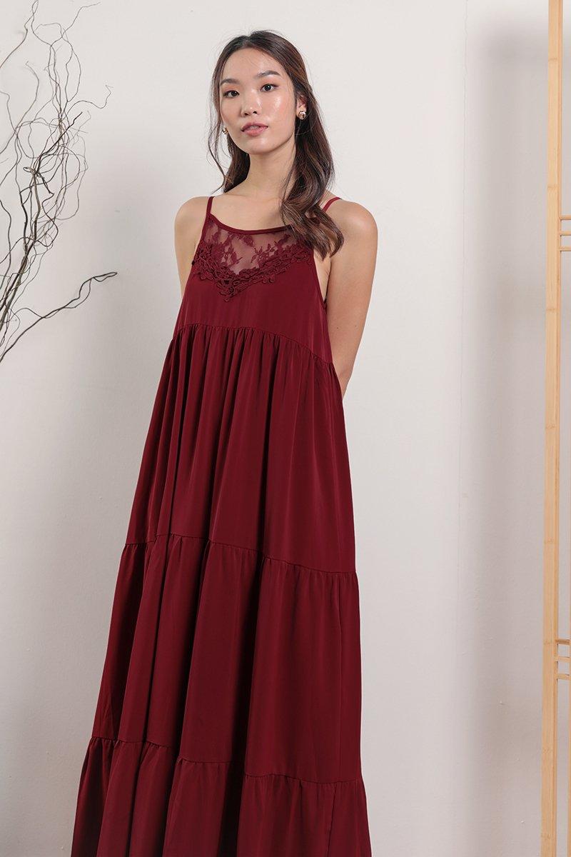 Arla Lace Maxi Dress (Maroon)