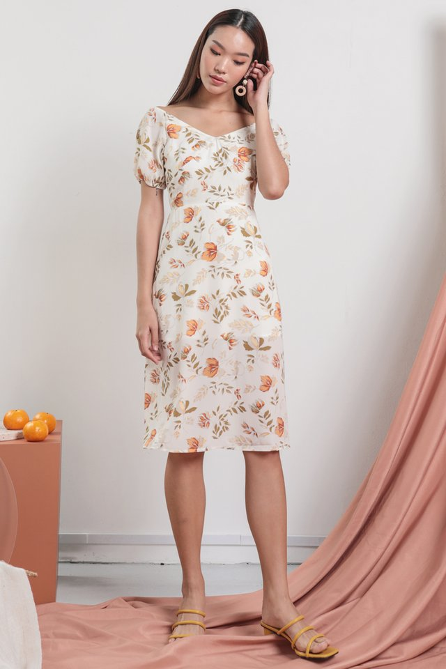 Belle Puffy Sleeve Dress (White Florals)