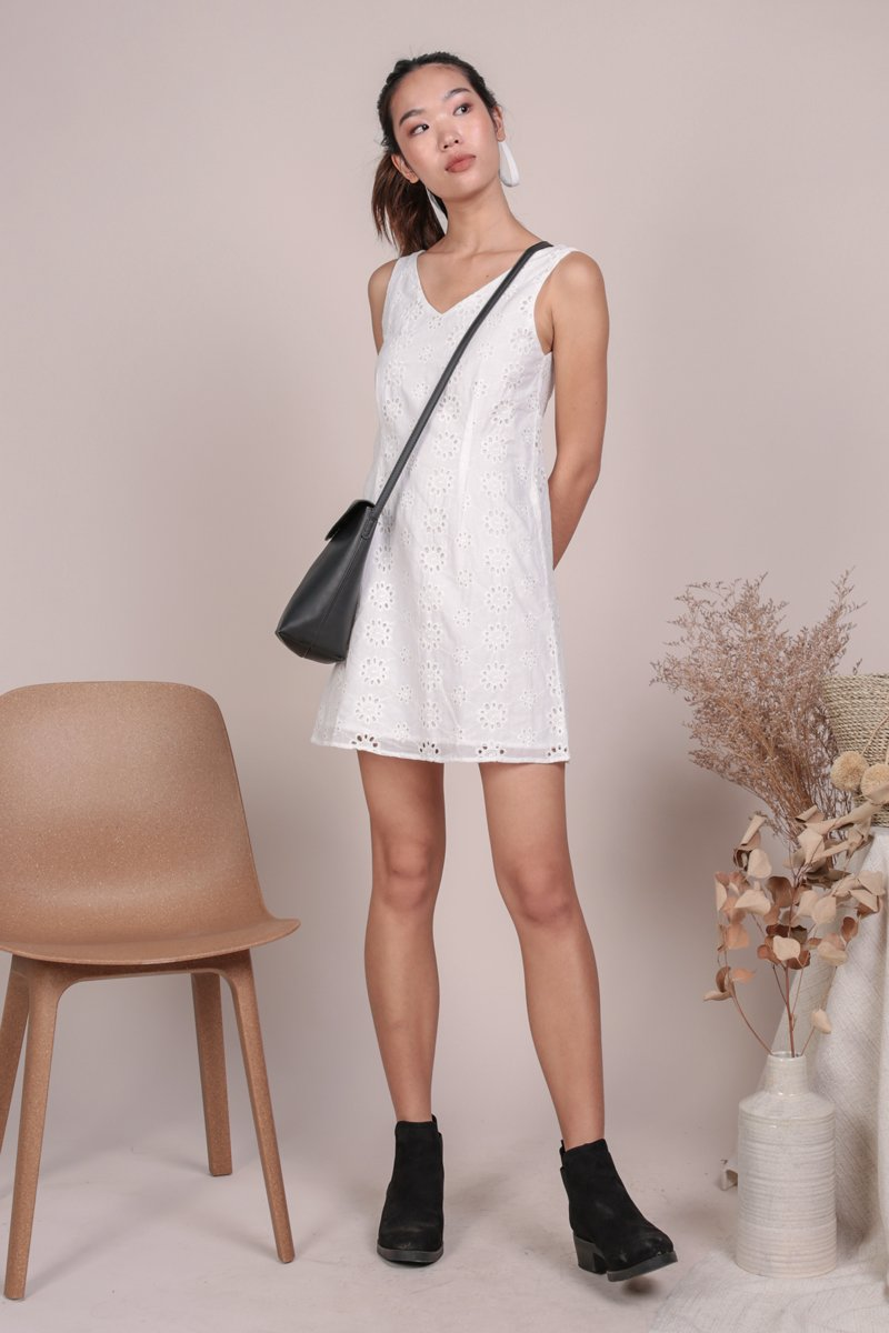 Desiree Basic Dress (White Eyelet)