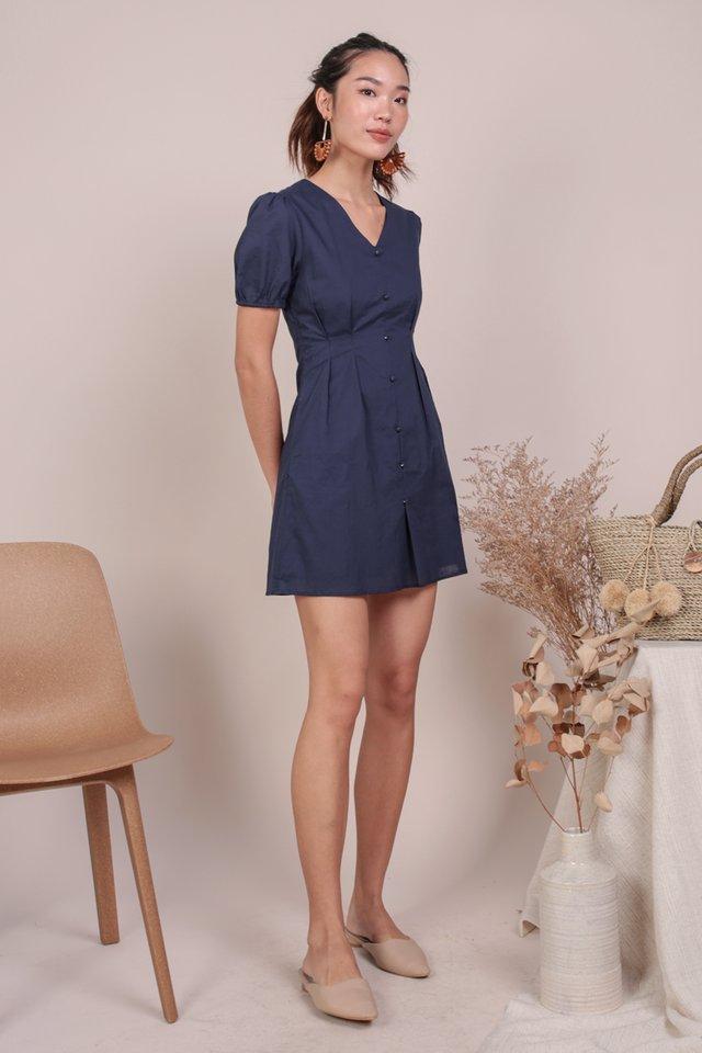Reya Button Sleeve Dress (Navy)