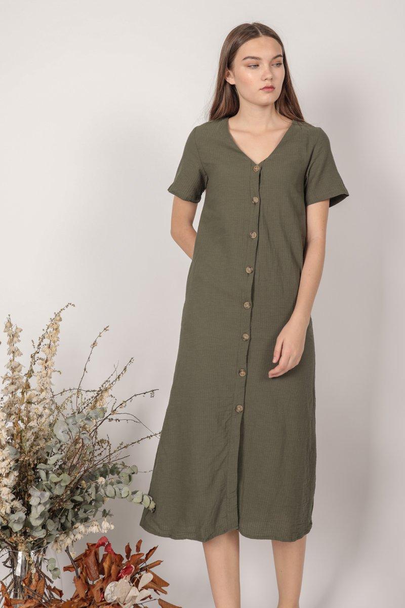Norah Sleeved Dress  (Olive)