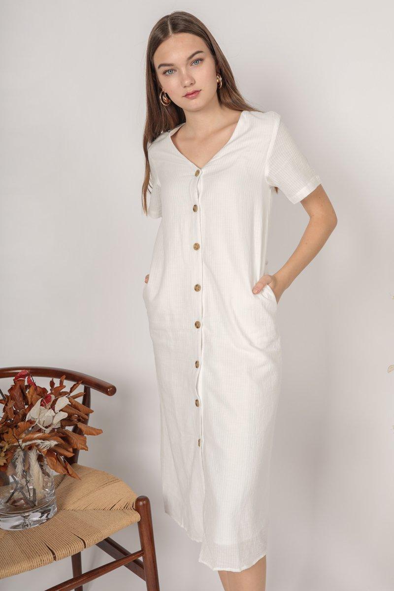 Norah Sleeved Dress (White)