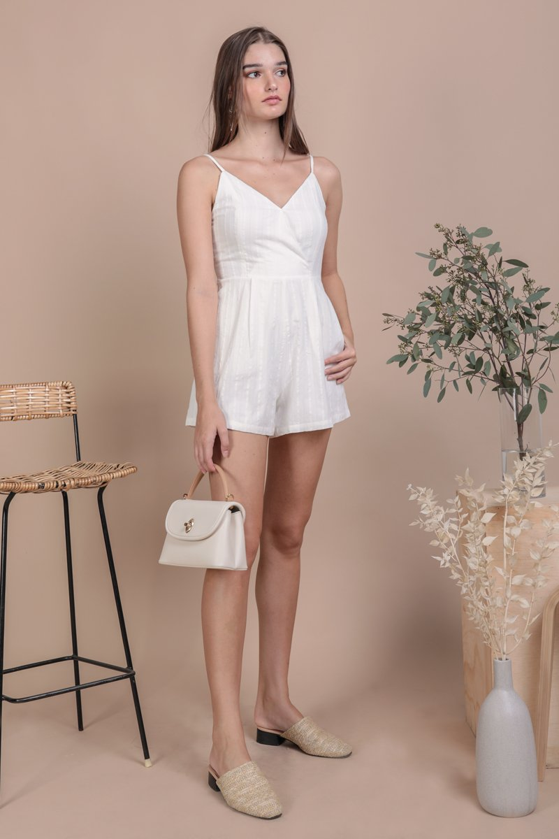 Karla Wrap Front Romper (White Embroidery)