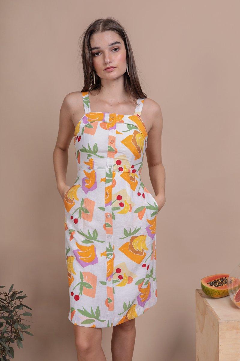 Tasmin Button Down Dress (White Tropical)