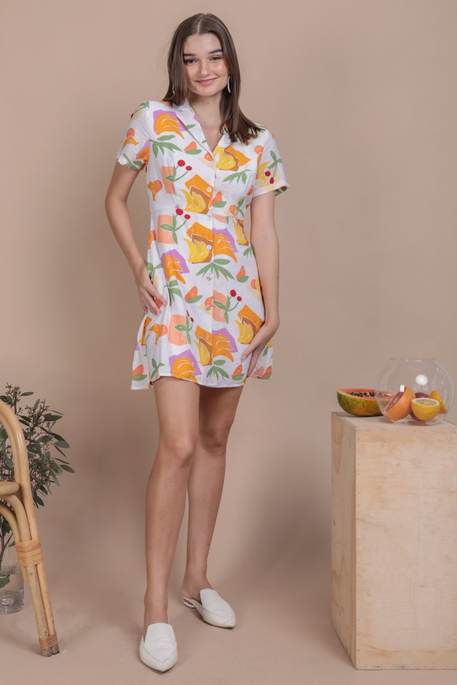 Potts Collared Dress (White Tropical)
