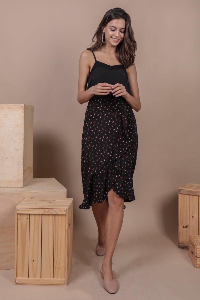 Destiny Ruffles Skirt (Black Rosebuds)