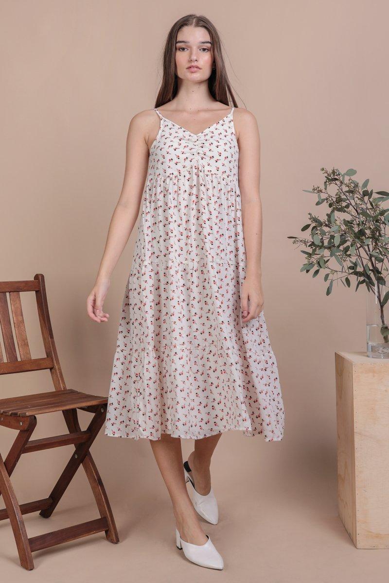 Maritha Tiered Midi Dress (White Rosebuds)