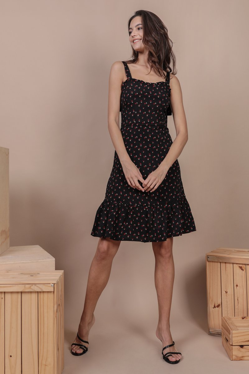Talia Midi Dress (Black Rosebuds)