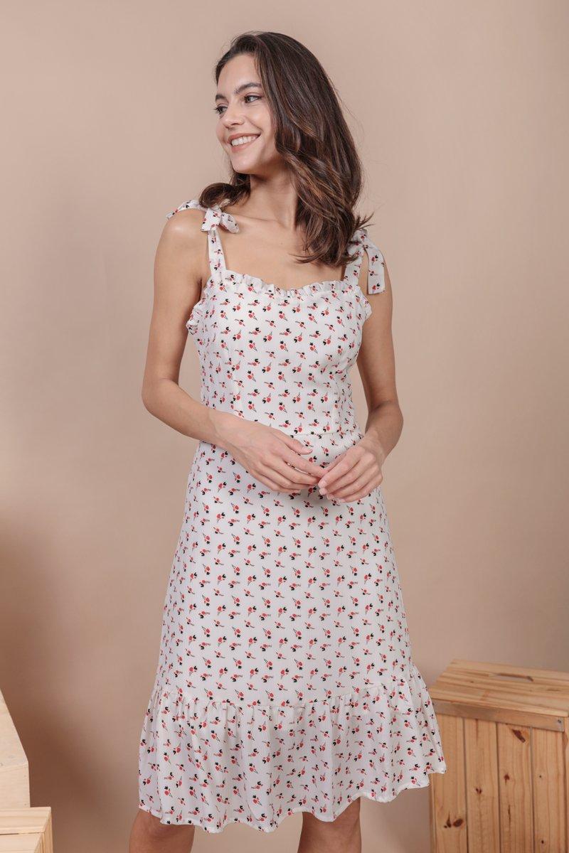 Talia Midi Dress (White Rosebuds)