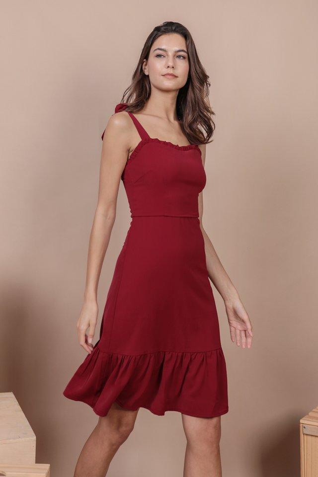 Talia Midi Dress (Maroon)
