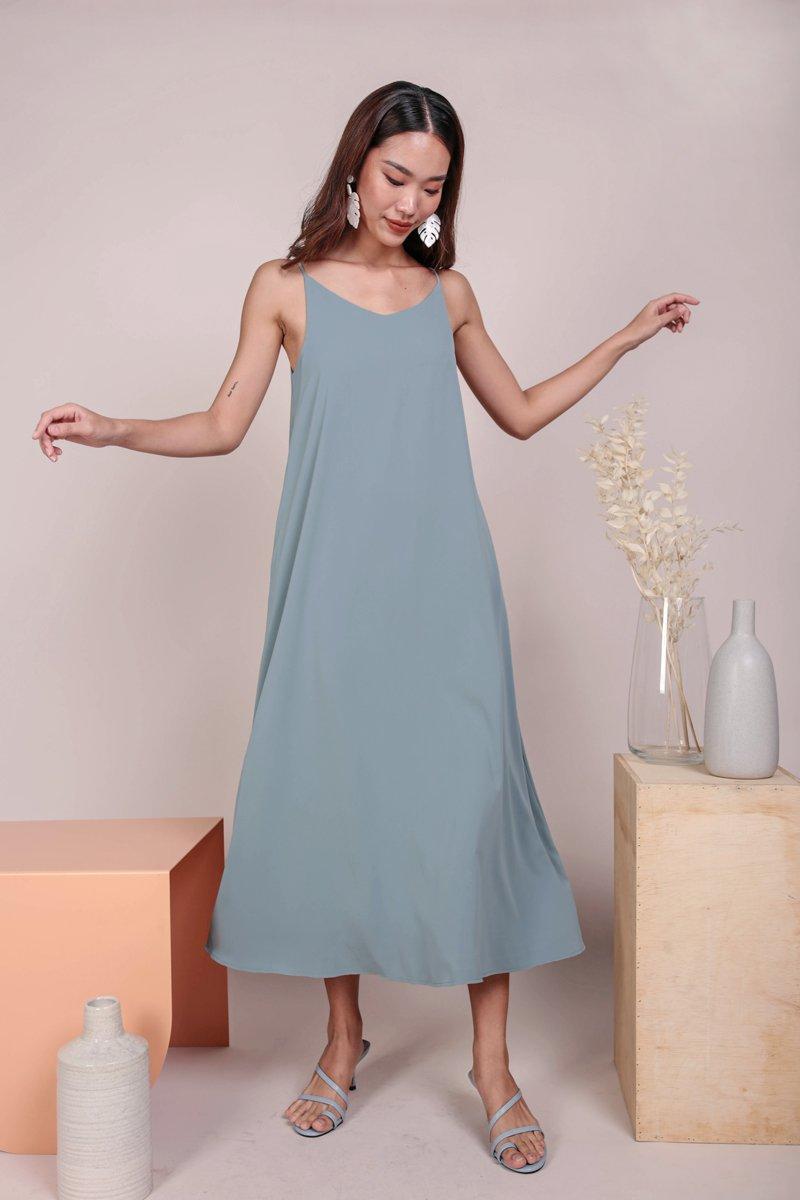 Faye Maxi Dress (Dusty Blue)