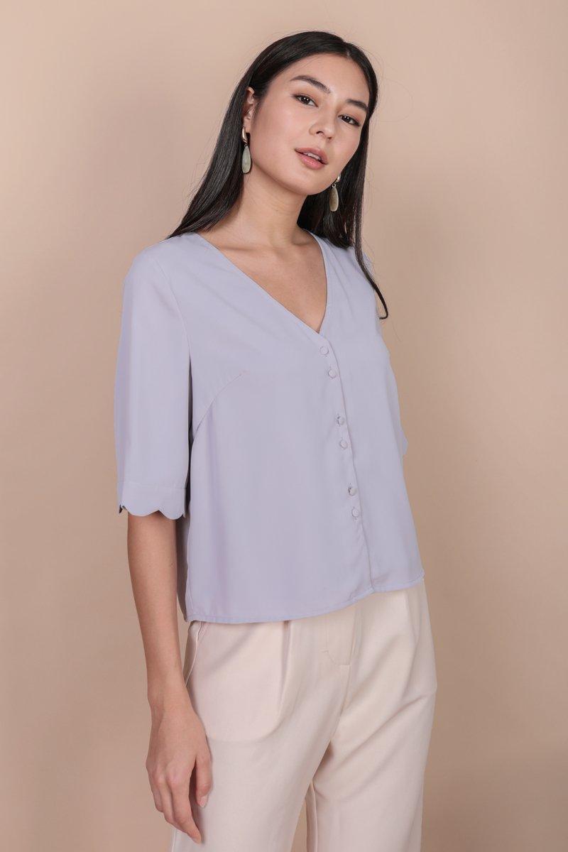 Danica Scallop Sleeve Top (Lilac)