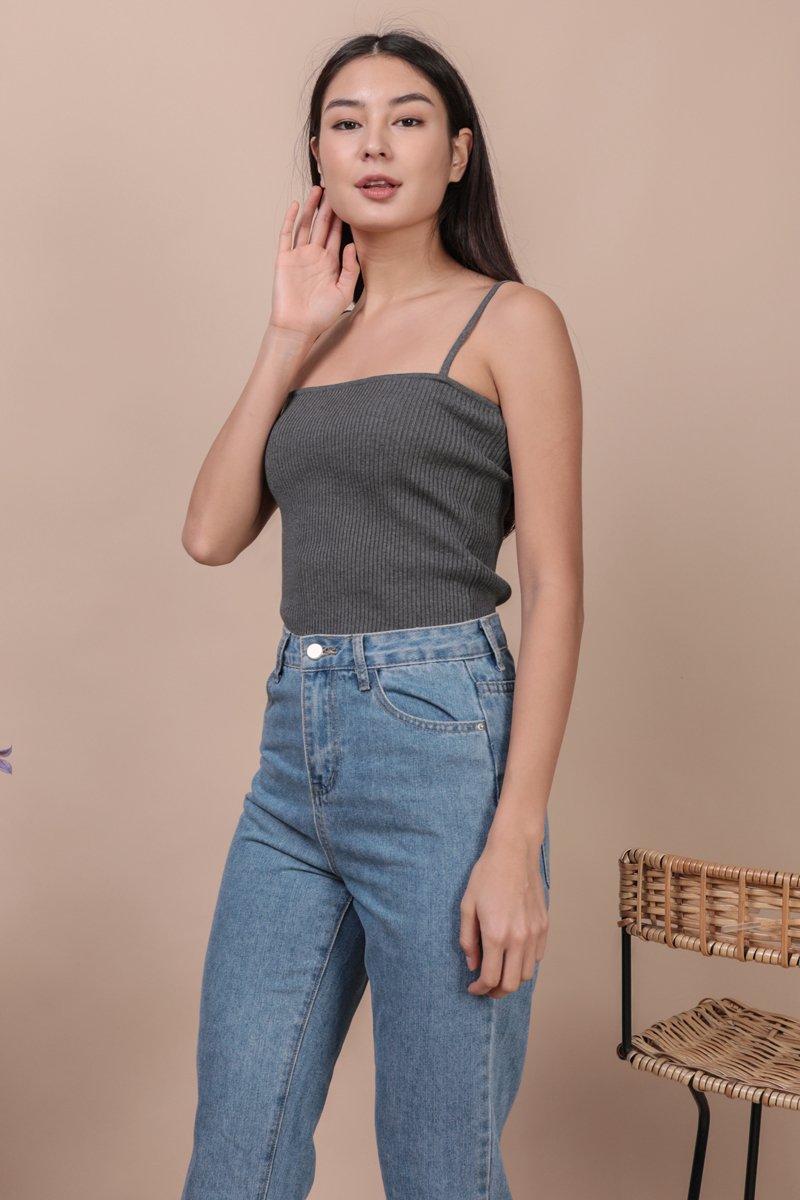 Sana Knit Spag Top (Grey)