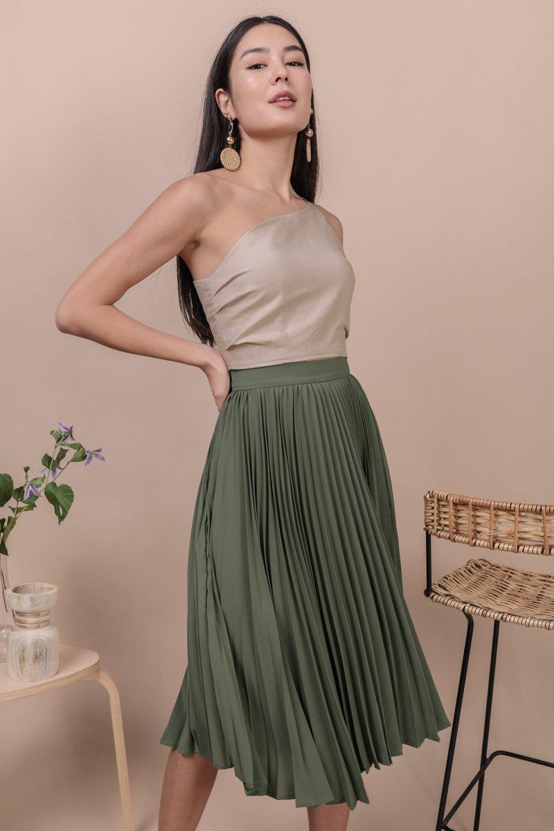 Courtney Pleated Midi Skirt (Sage Green)