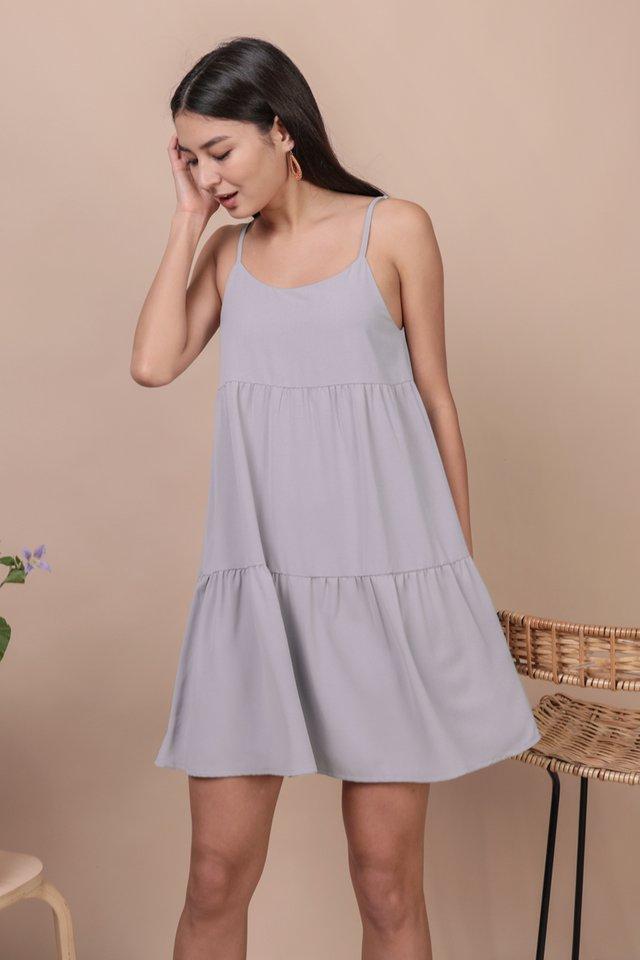 Emmy Tiered Spag Dress (Lilac Grey)
