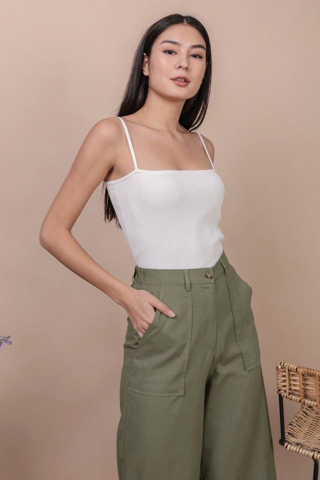 Sana Knit Spag Top (White)