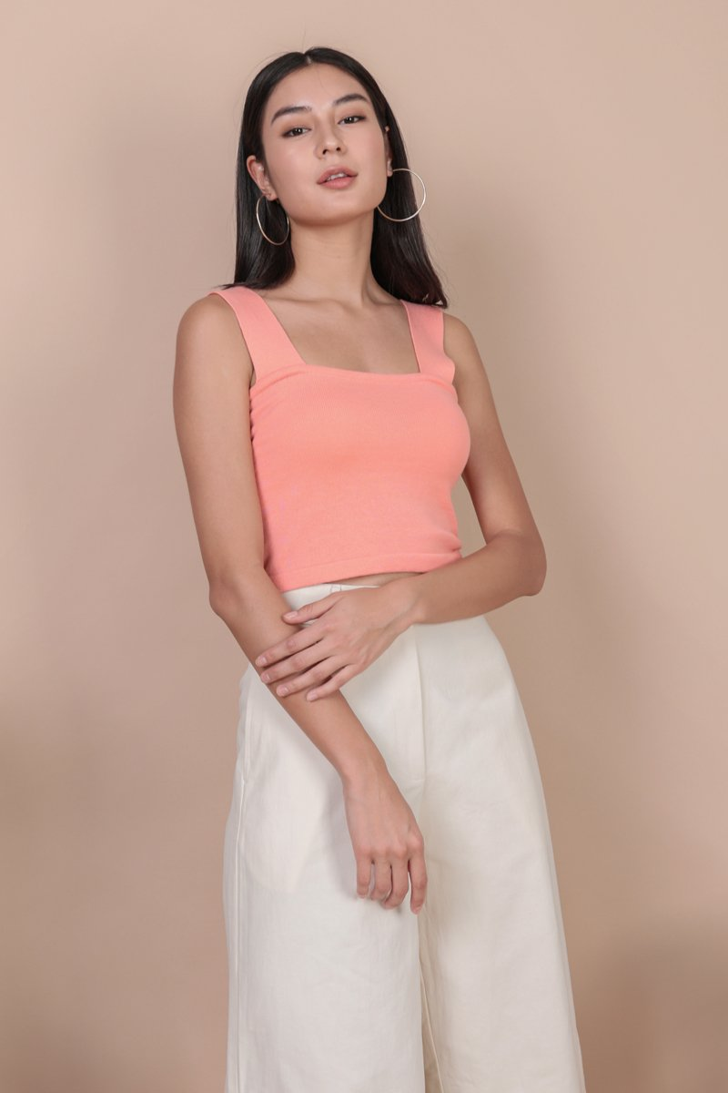 Harley Knit Top (Bright Coral)