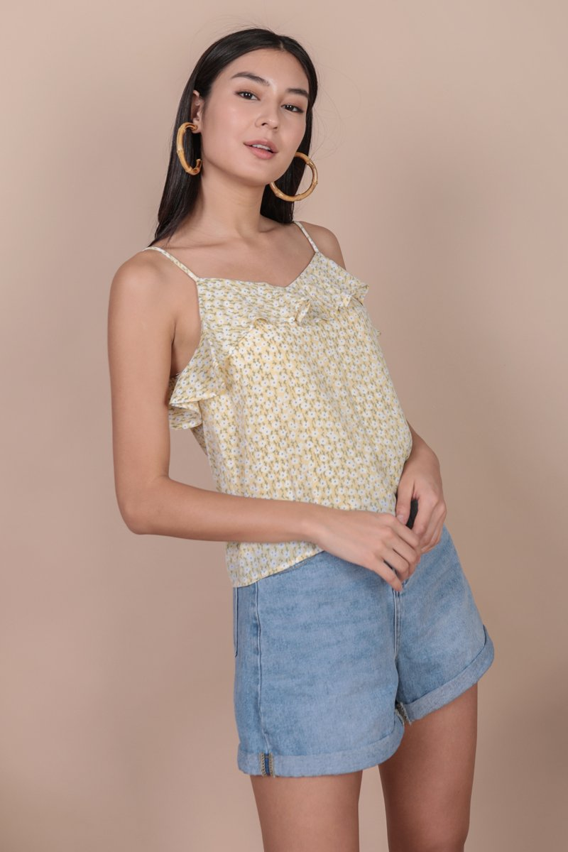 Sofie Ruffles Spag Top (Yellow Blooms)
