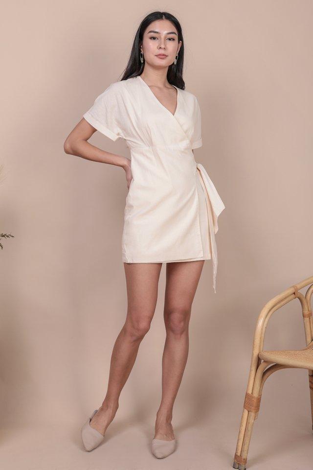 Callie Wrap Front Dress (Cream)