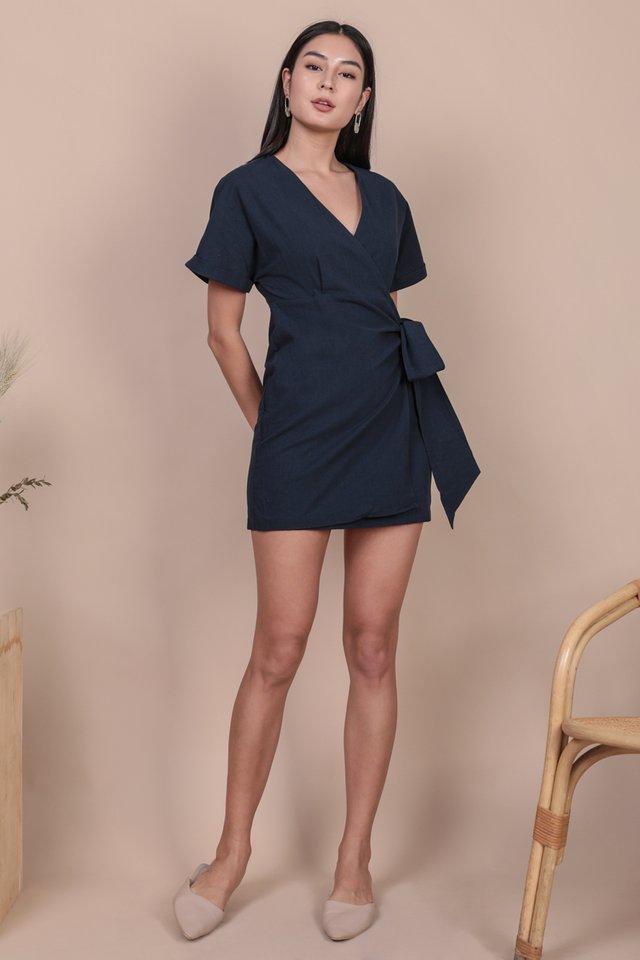 Callie Wrap Front Dress (Navy)