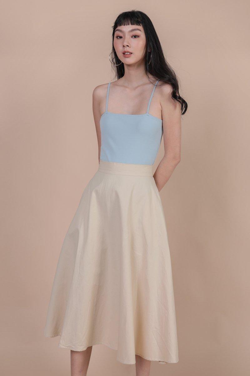 Chance Midi Skirt (Beige)