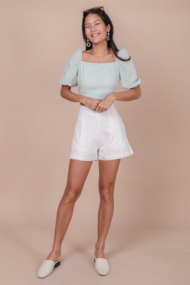Majorelle Puffy Sleeve Top (Gingham)