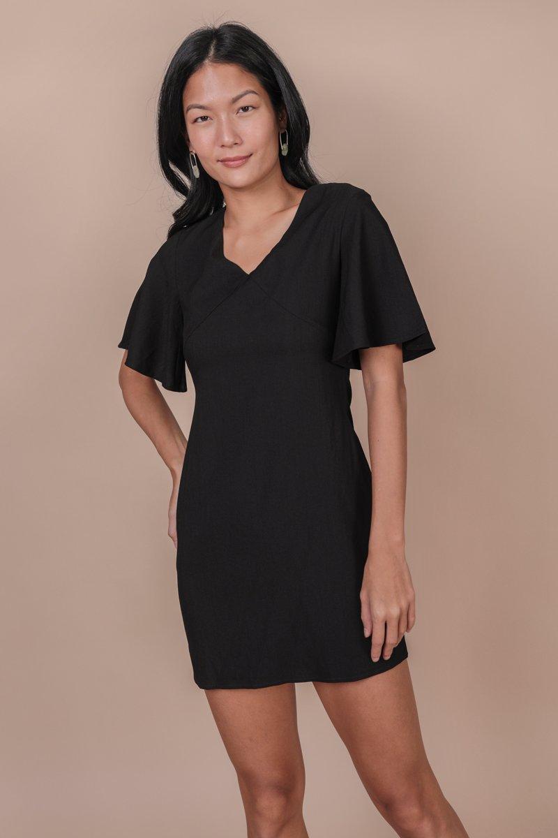 Verona Flare Sleeve Dress (Black)