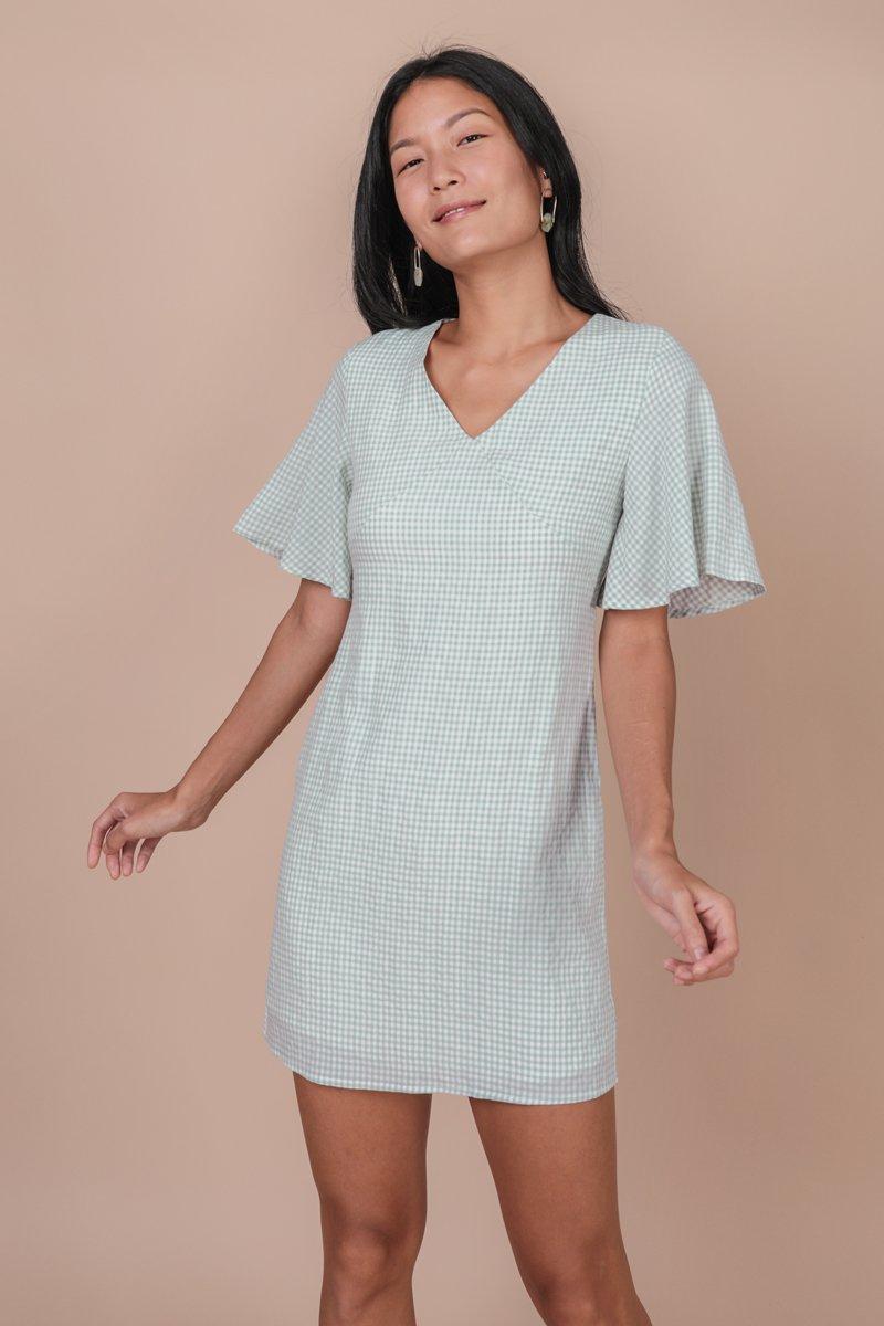 Verona Flare Sleeve Dress (Gingham)