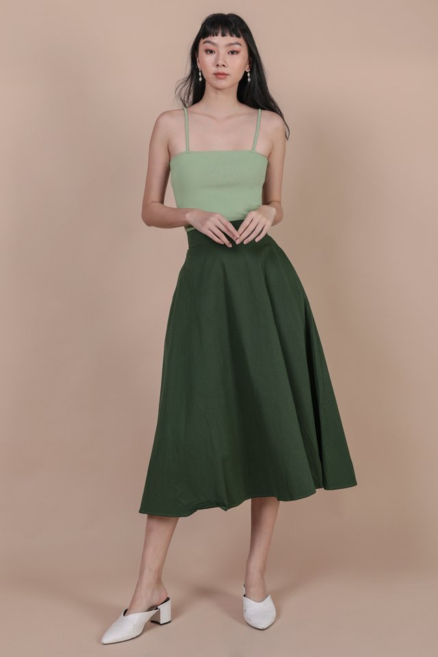 Chance Midi Skirt (Forest Green)