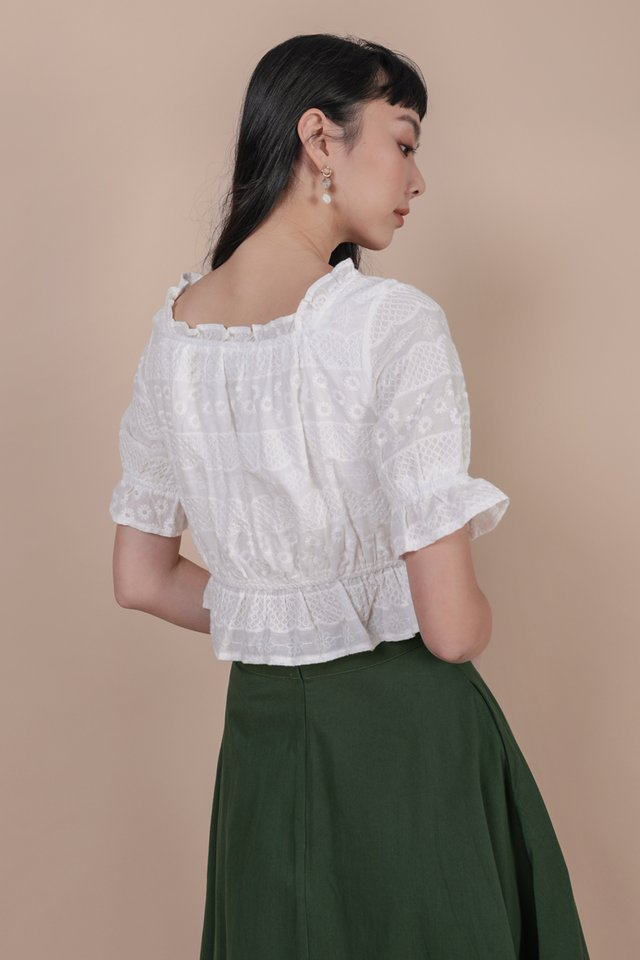 Myra Puffy Sleeve Top (White Embroidery)