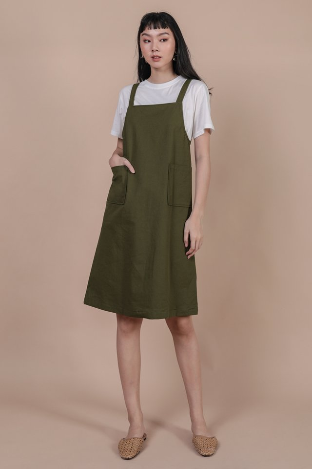Todd Overalls Dress (Olive)