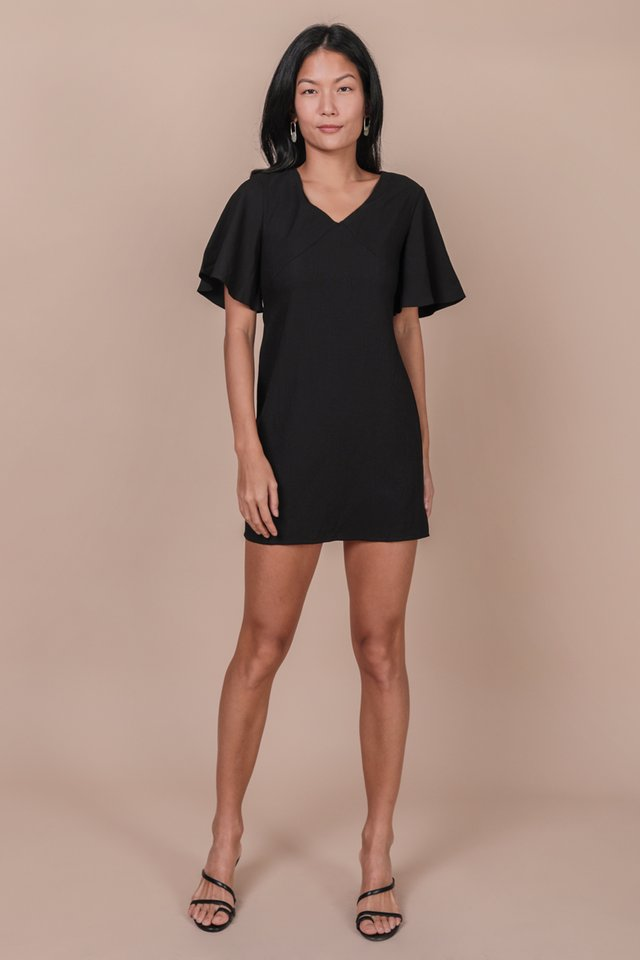 Verona Flare Sleeve Dress (Black)