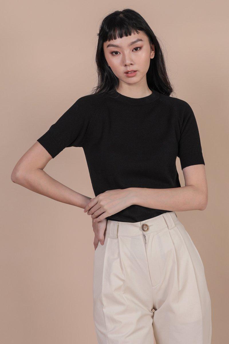 Darin Sleeve Knit Top (Black)