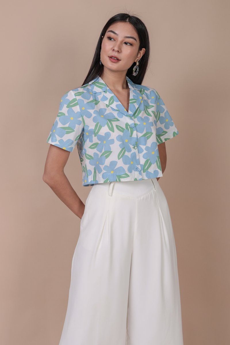 Parco Collared Top (Tropical Blue)