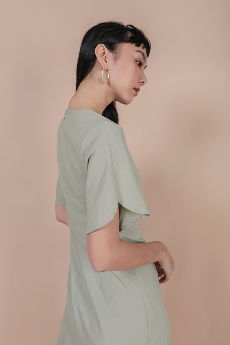 Santino Sleeve Dress (Light Sage)