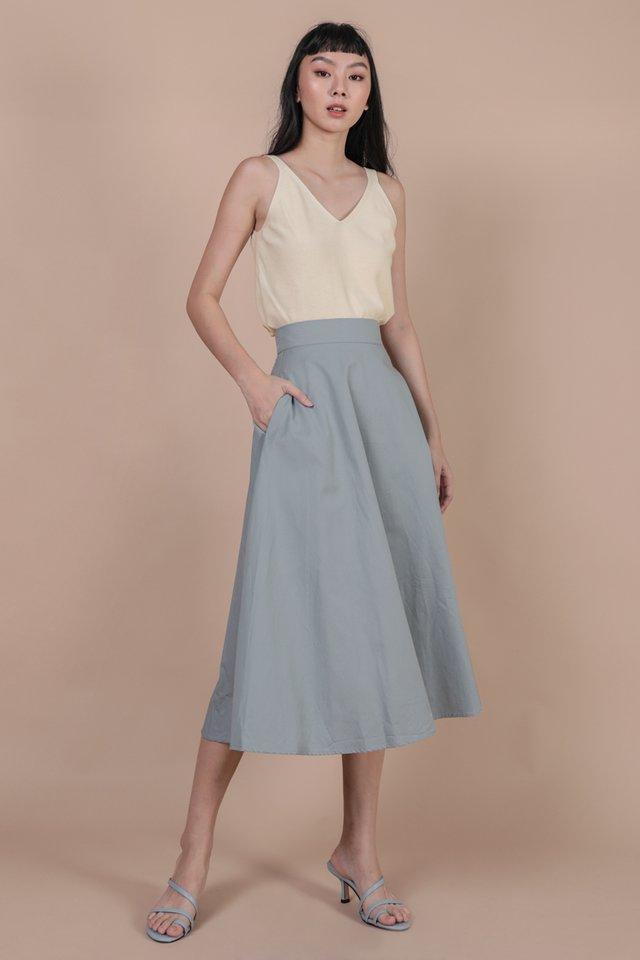 Chance Midi Skirt (Dusty Blue)